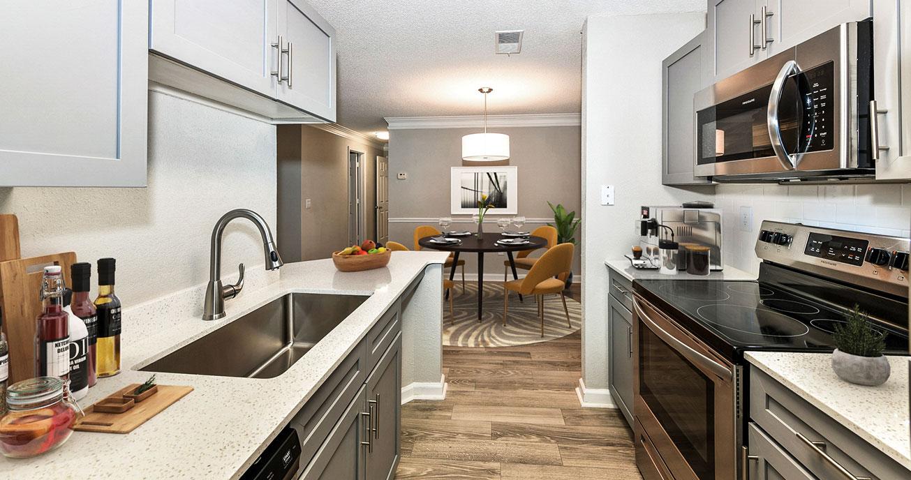 indoor kitchen with appliances, river vista, atlanta ga