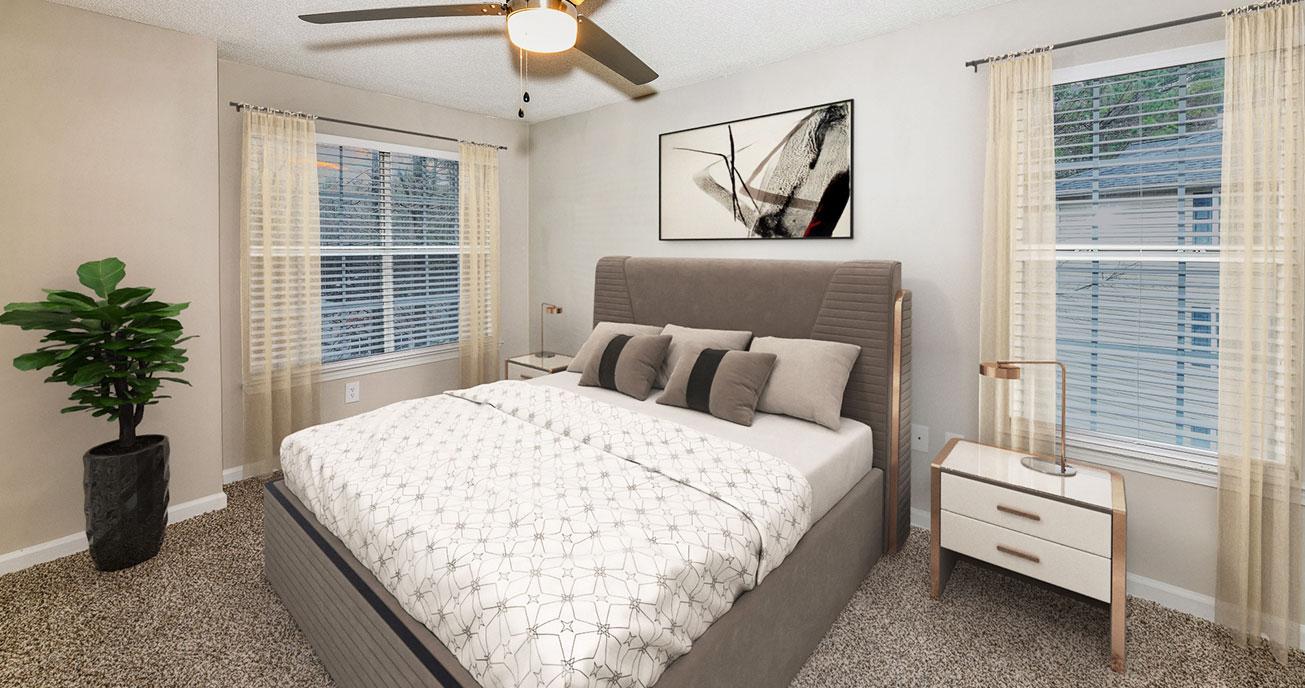 bedroom with windows, river vista, atlanta ga
