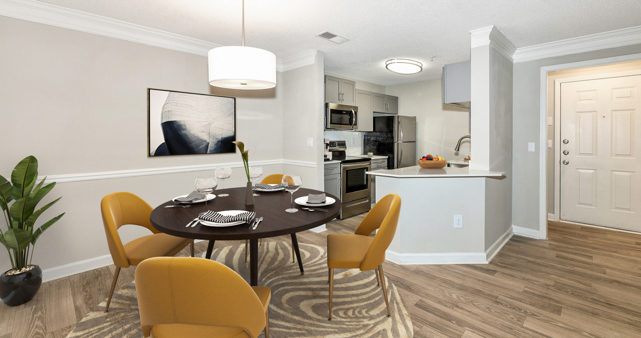 indorr dining area with table and chairs, river vista, atlanta ga