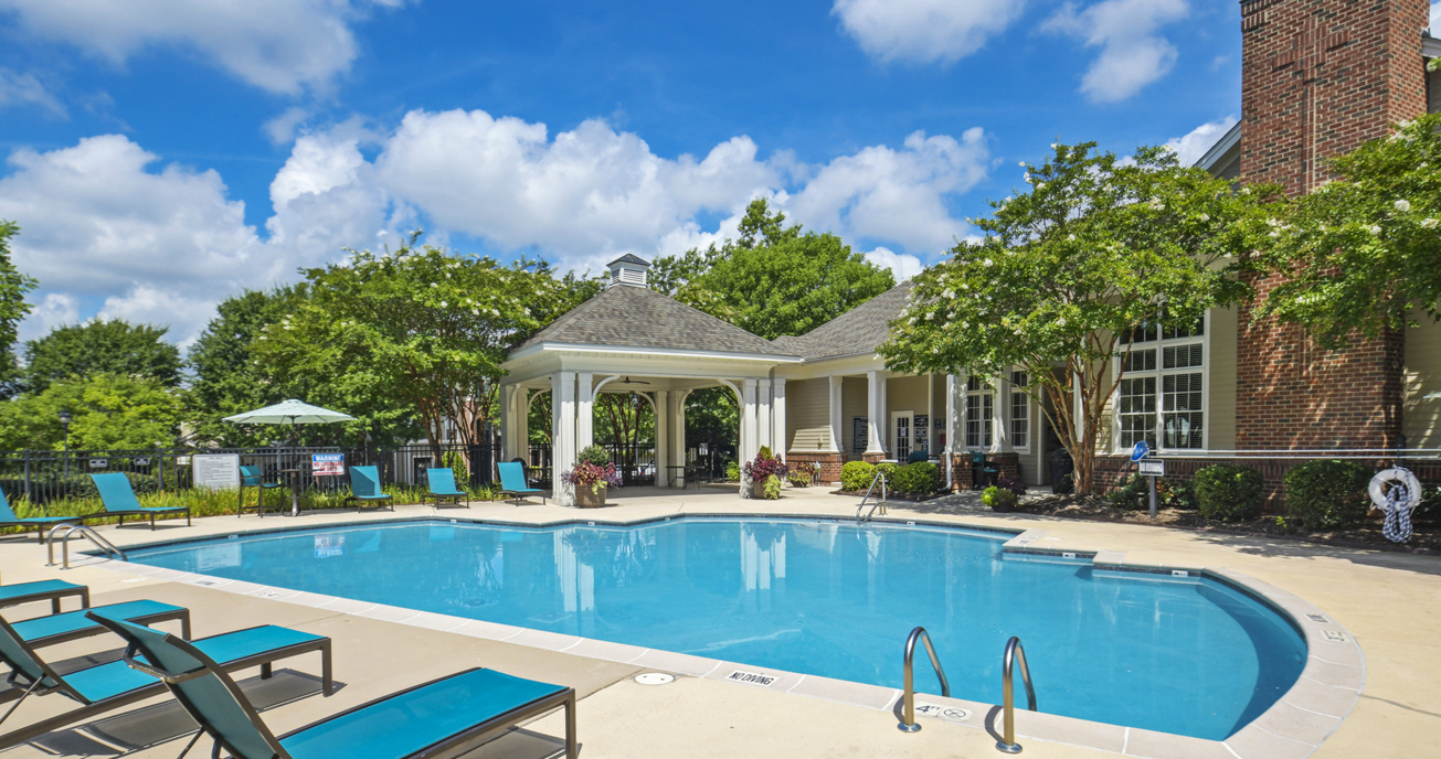 outdoor pools with gazebo, columns at wakefield in raleigh nc