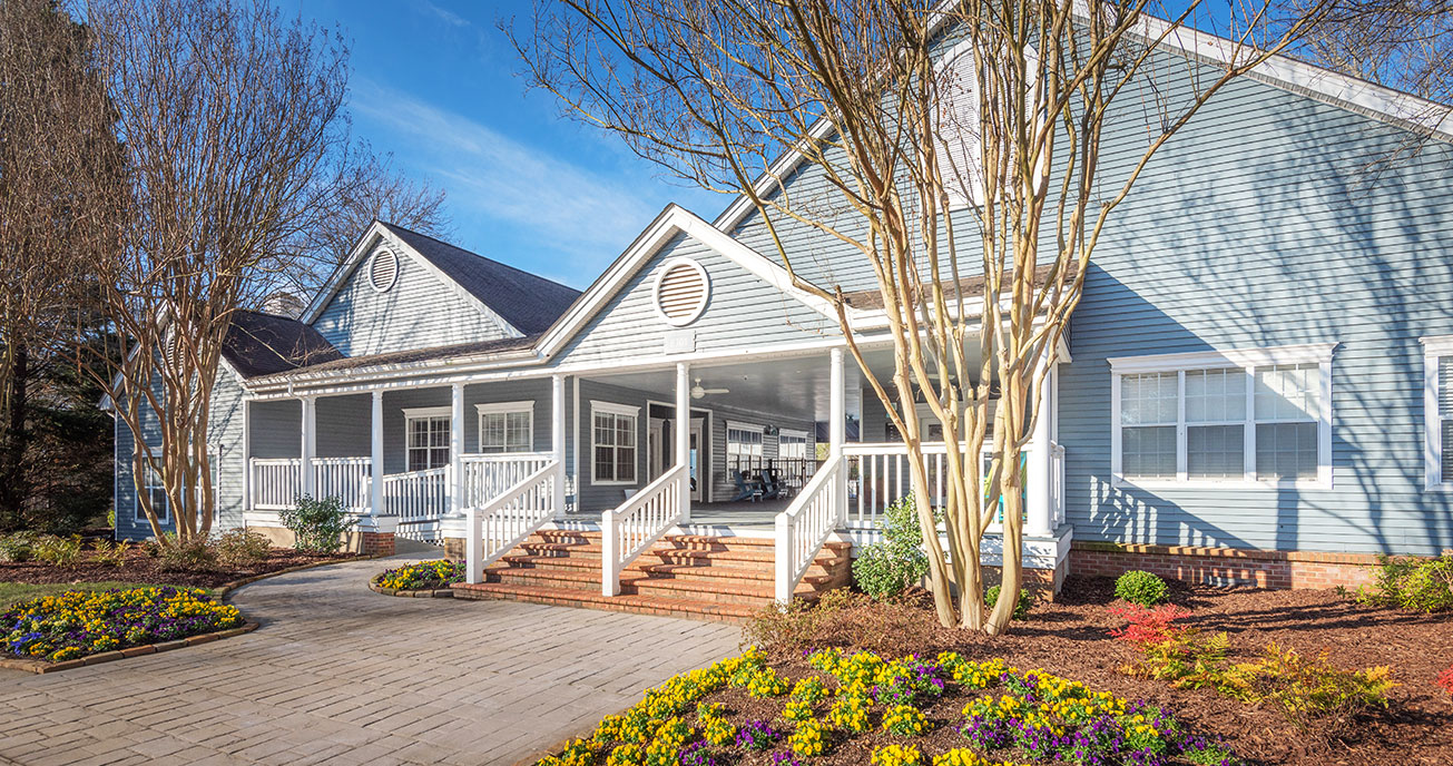 exterior view of clubhouse, magnolia terrace, charlotte nc
